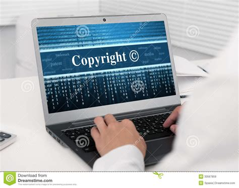 Laptop Computer With Copyright Message Royalty Free Stock