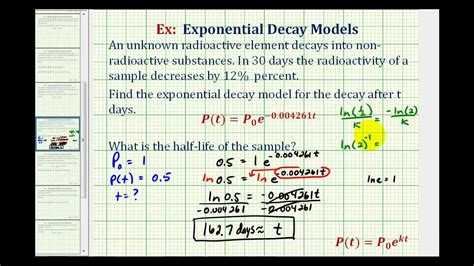 Ex: Exponential Decay Function - Half Life - YouTube