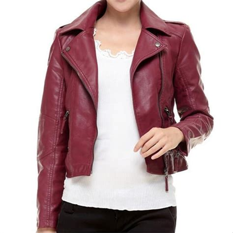 Red Leather Jacket Women 2018 New Fashion Autumn Long