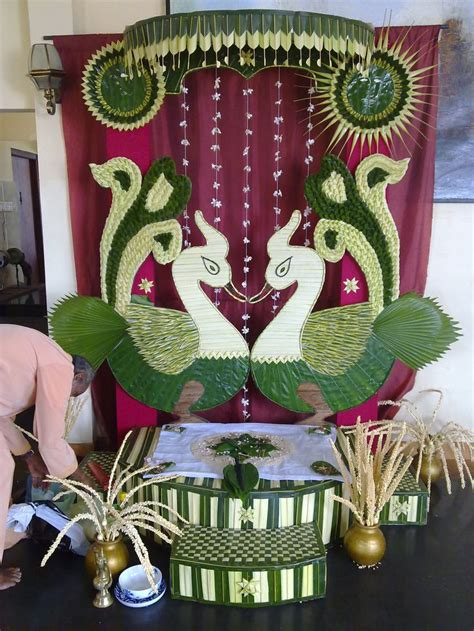 Traditional vwedding decor with coconut leaves