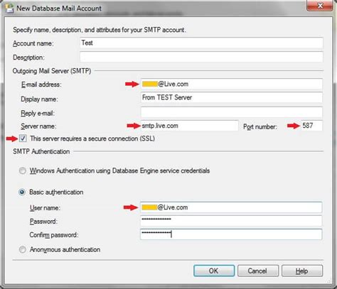 Setup SQL Server Database Mail to use a Gmail, Hotmail