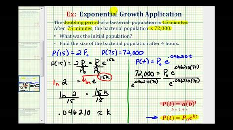 Exponential Growth App with Logs (y=ae^(kt)) - Find