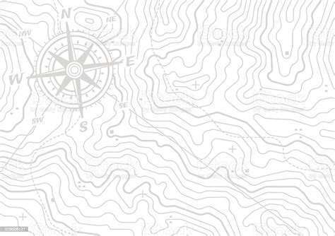 Topographic Compass Map Background Stock Illustration
