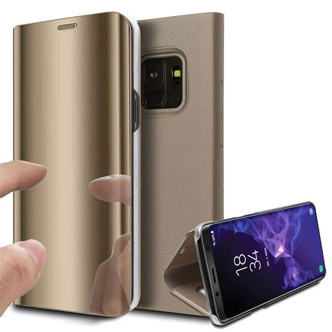 Samsung Galaxy S9 Hülle Clear View Flip Case in Gold